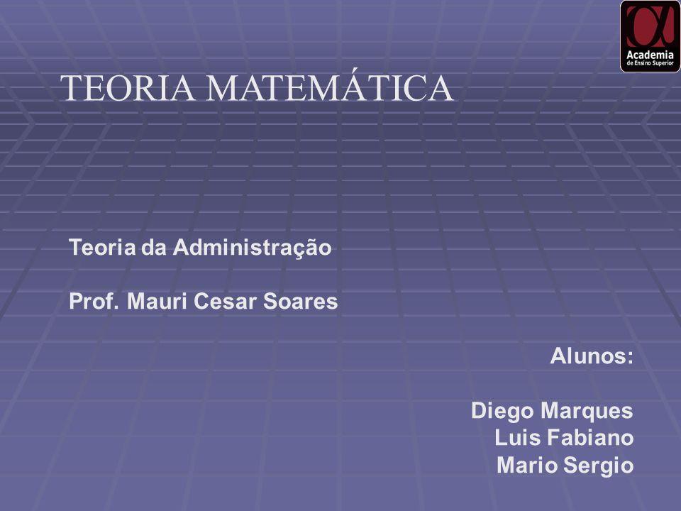 Teoria da Administração Prof. Mauri Cesar Soares Alunos: Diego Marques Luis Fabiano Mario Sergio TEORIA MATEMÁTICA