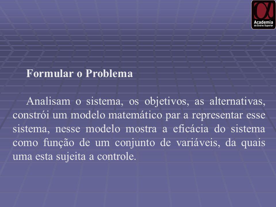 Formular o Problema Analisam o sistema, os objetivos, as alternativas, constrói um modelo matemático par a representar esse sistema, nesse modelo most