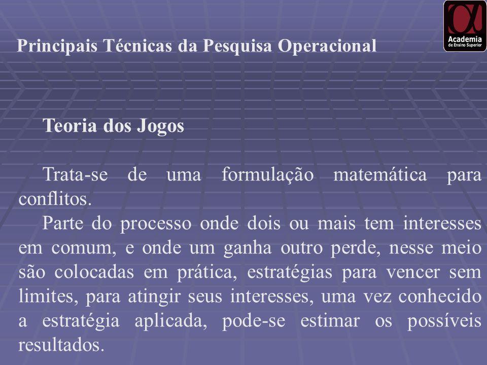 Principais Técnicas da Pesquisa Operacional Teoria dos Jogos Trata-se de uma formulação matemática para conflitos. Parte do processo onde dois ou mais