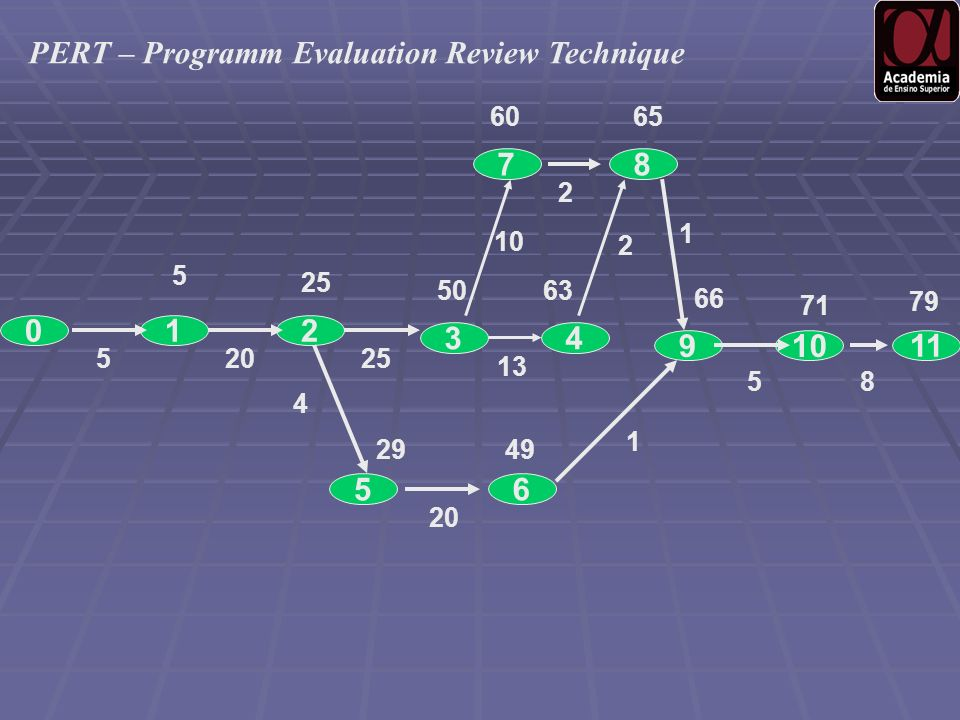 0 9 12 5 10 87 3 65 11 4 25 50 20525 6065 13 63 10 2 2 1 20 4 2949 1 66 71 79 58 PERT – Programm Evaluation Review Technique
