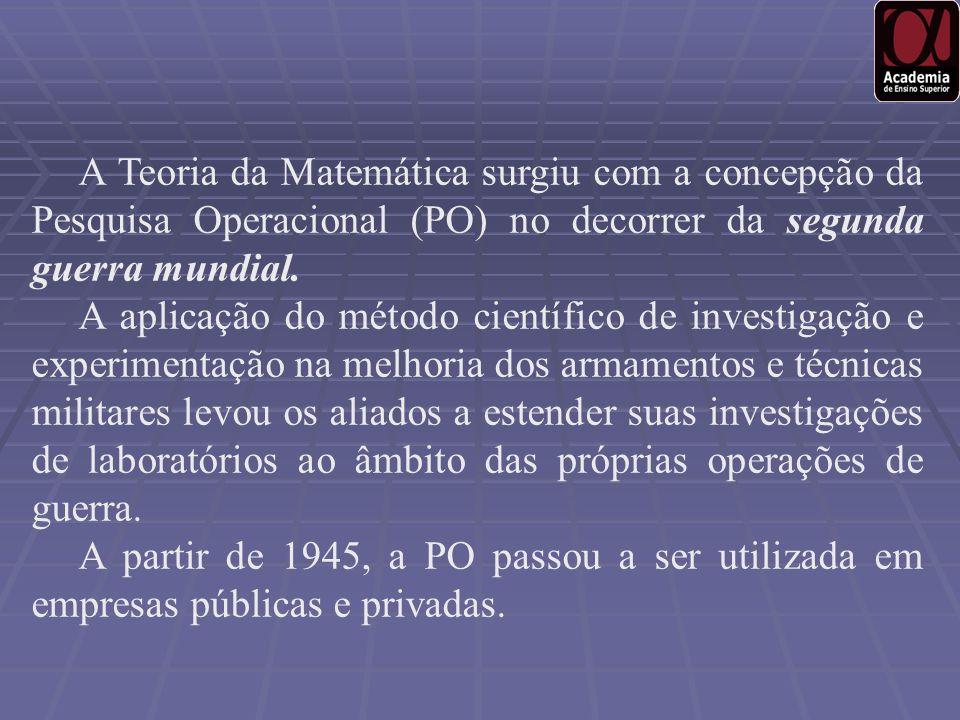 A Teoria da Matemática surgiu com a concepção da Pesquisa Operacional (PO) no decorrer da segunda guerra mundial. A aplicação do método científico de