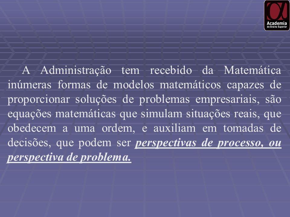 A Administração tem recebido da Matemática inúmeras formas de modelos matemáticos capazes de proporcionar soluções de problemas empresariais, são equa