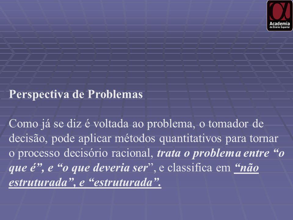 Perspectiva de Problemas Como já se diz é voltada ao problema, o tomador de decisão, pode aplicar métodos quantitativos para tornar o processo decisór