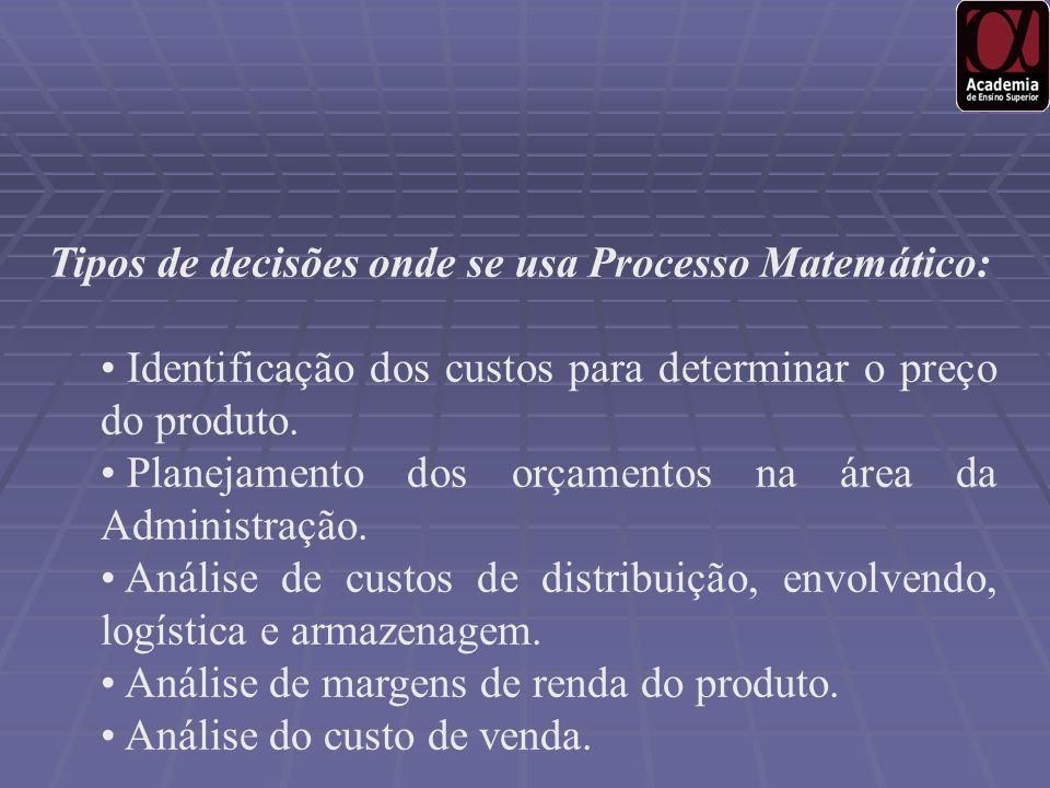 Tipos de decisões onde se usa Processo Matemático: Identificação dos custos para determinar o preço do produto. Planejamento dos orçamentos na área da