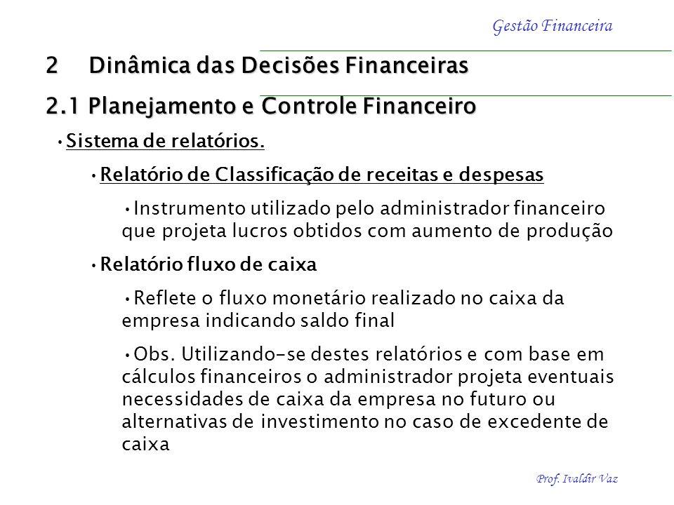 Prof. Ivaldir Vaz Gestão Financeira Sistema de relatórios. Relatório de Classificação de receitas e despesas Instrumento utilizado pelo administrador