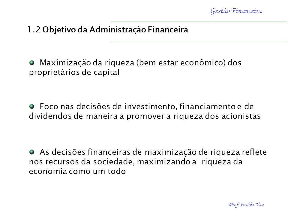 Prof. Ivaldir Vaz Gestão Financeira Foco nas decisões de investimento, financiamento e de dividendos de maneira a promover a riqueza dos acionistas 1.