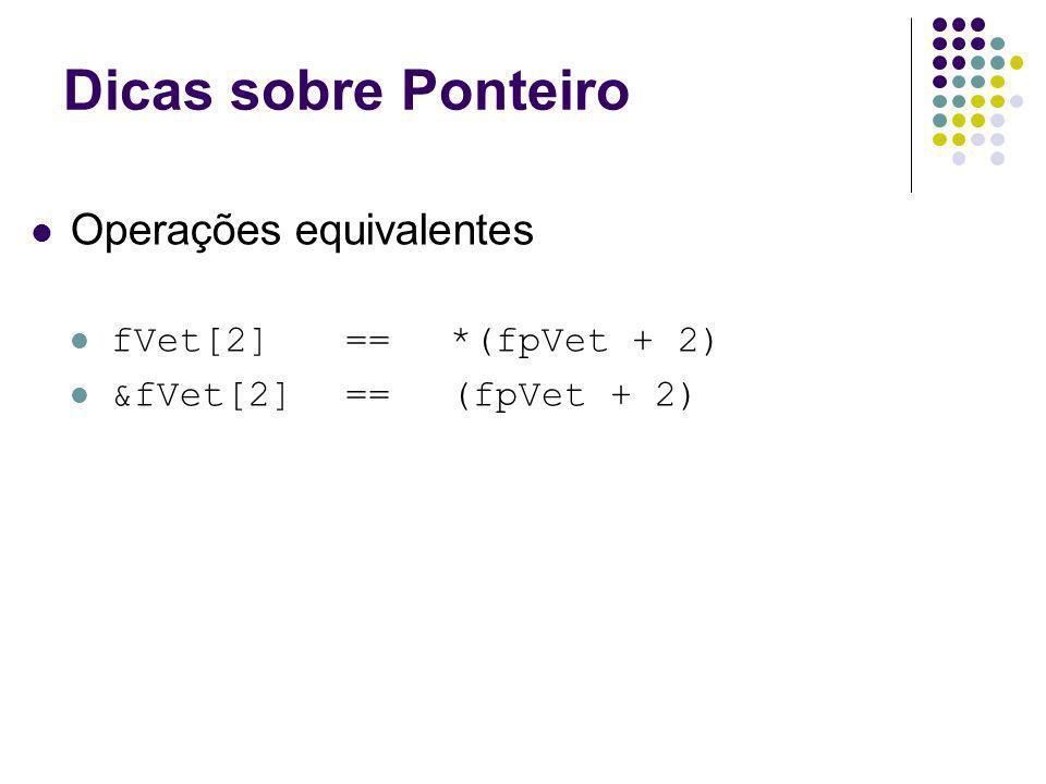 Dicas sobre Ponteiro Operações equivalentes fVet[2] == *(fpVet + 2) &fVet[2] ==(fpVet + 2)
