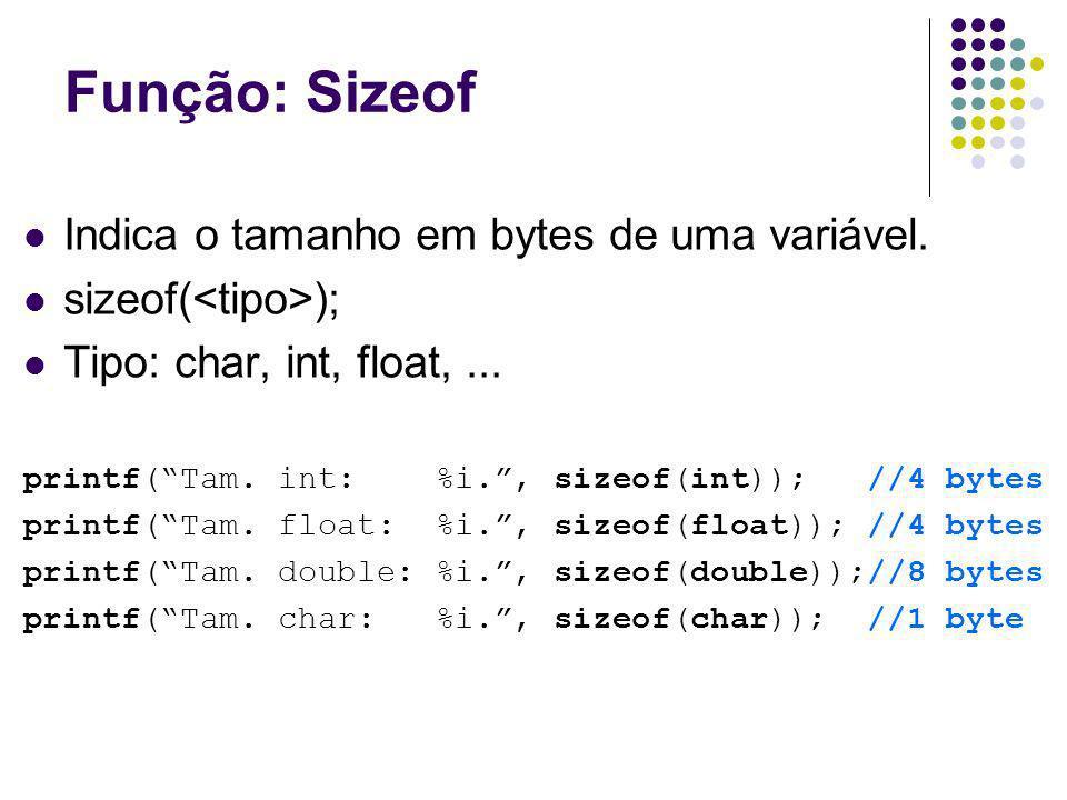Função: Sizeof Indica o tamanho em bytes de uma variável. sizeof( ); Tipo: char, int, float,... printf(Tam. int: %i., sizeof(int)); //4 bytes printf(T