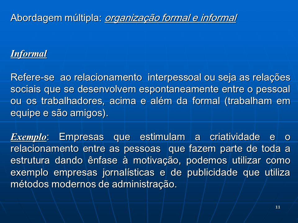 11 Abordagem múltipla: organização formal e informal Informal Refere-se ao relacionamento interpessoal ou seja as relações sociais que se desenvolvem