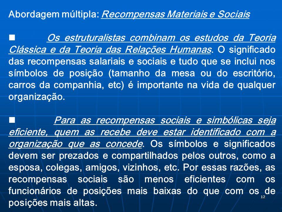 12 Abordagem múltipla: Recompensas Materiais e Sociais Os estruturalistas combinam os estudos da Teoria Clássica e da Teoria das Relações Humanas. O s