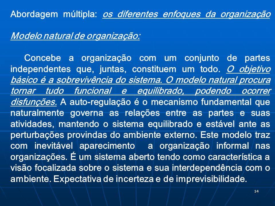 14 Abordagem múltipla: os diferentes enfoques da organização Modelo natural de organização: Concebe a organização com um conjunto de partes independen