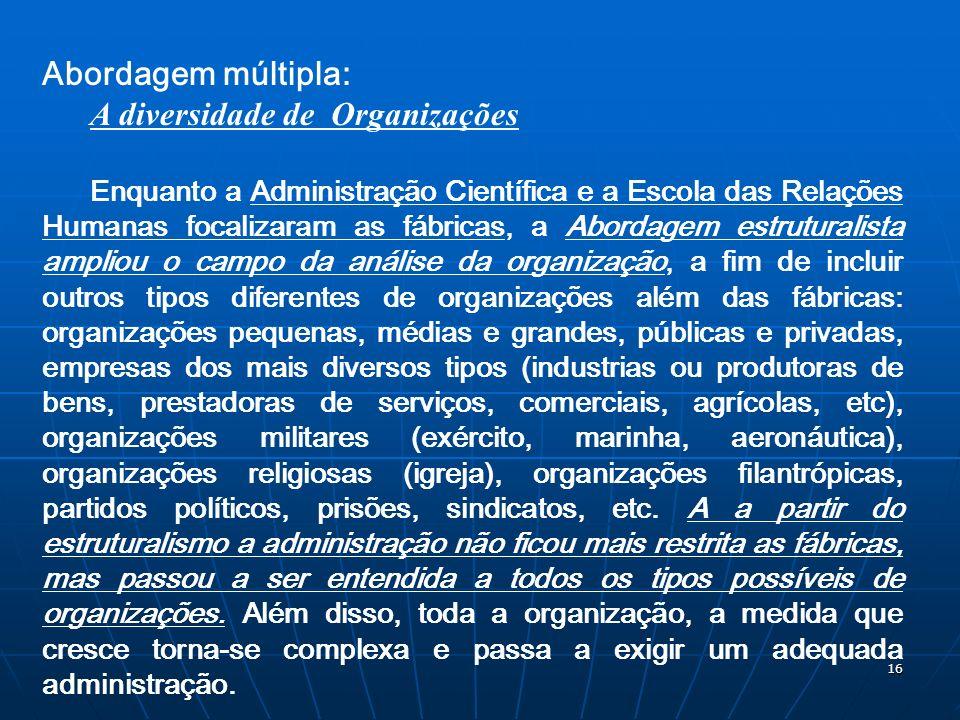 16 Abordagem múltipla: A diversidade de Organizações Enquanto a Administração Científica e a Escola das Relações Humanas focalizaram as fábricas, a Ab