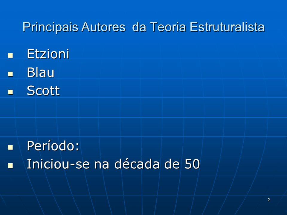 2 Principais Autores da Teoria Estruturalista Etzioni Etzioni Blau Blau Scott Scott Período: Período: Iniciou-se na década de 50 Iniciou-se na década