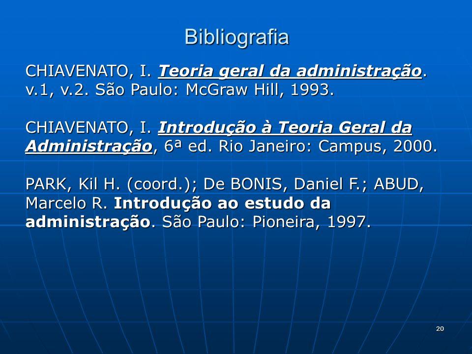 20 Bibliografia CHIAVENATO, I. Teoria geral da administração. v.1, v.2. São Paulo: McGraw Hill, 1993. CHIAVENATO, I. Introdução à Teoria Geral da Admi