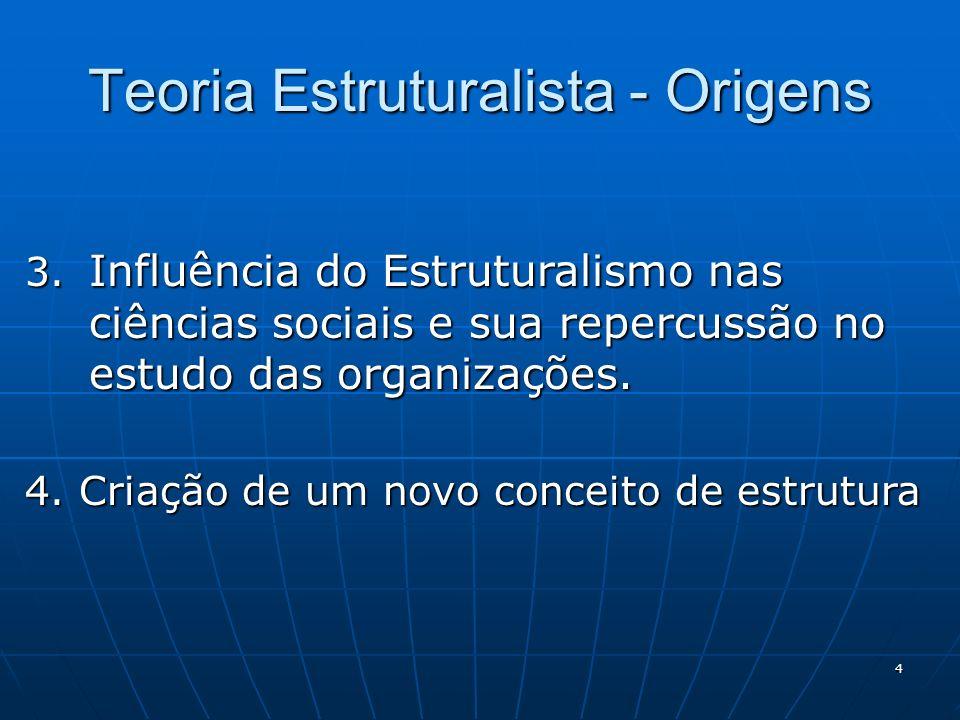 4 Teoria Estruturalista - Origens 3. Influência do Estruturalismo nas ciências sociais e sua repercussão no estudo das organizações. 4. Criação de um
