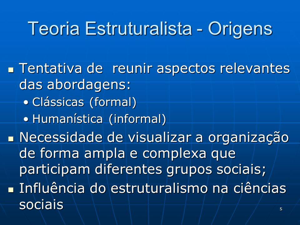 5 Teoria Estruturalista - Origens Tentativa de reunir aspectos relevantes das abordagens: Tentativa de reunir aspectos relevantes das abordagens: Clás