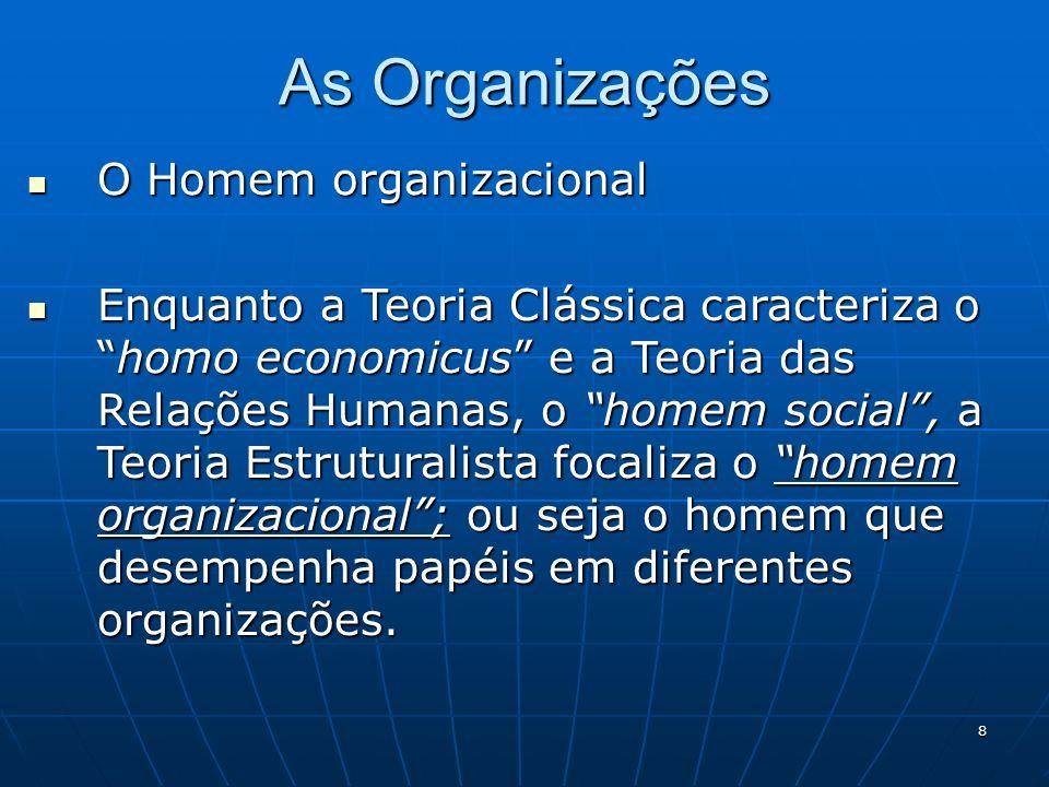 8 As Organizações O Homem organizacional O Homem organizacional Enquanto a Teoria Clássica caracteriza ohomo economicus e a Teoria das Relações Humana
