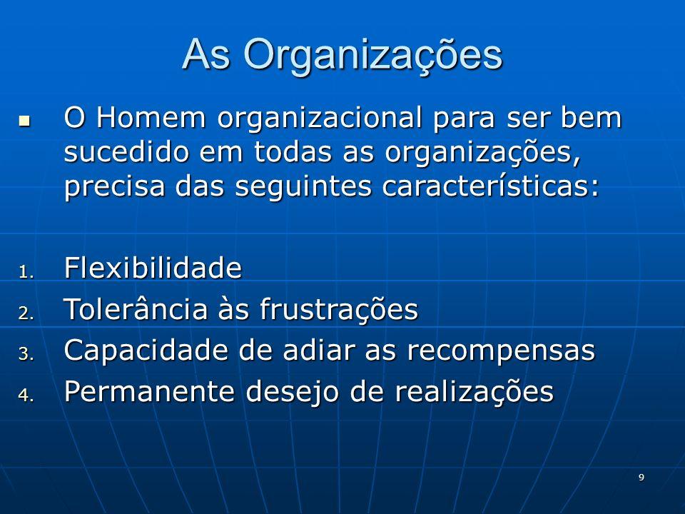 9 As Organizações O Homem organizacional para ser bem sucedido em todas as organizações, precisa das seguintes características: O Homem organizacional
