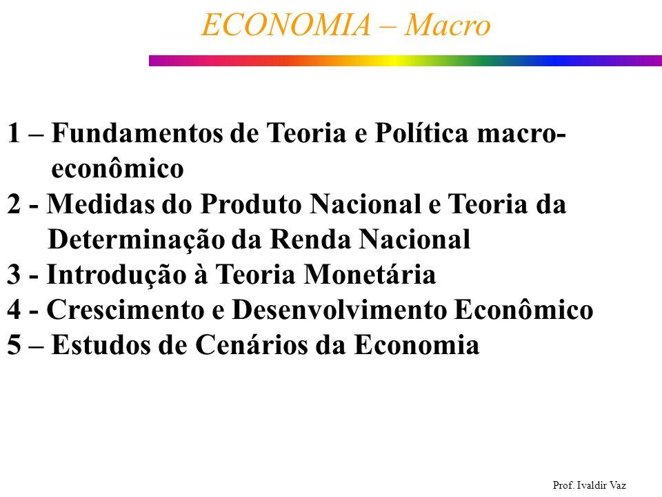 Prof. Ivaldir Vaz ECONOMIA – Macro 1 1 – Fundamentos de Teoria e Política macro- econômico 2 - Medidas do Produto Nacional e Teoria da Determinação da