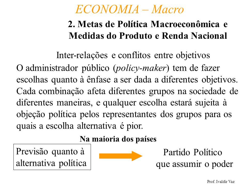 Prof. Ivaldir Vaz ECONOMIA – Macro 13 Inter-relações e conflitos entre objetivos O administrador público (policy-maker) tem de fazer escolhas quanto à