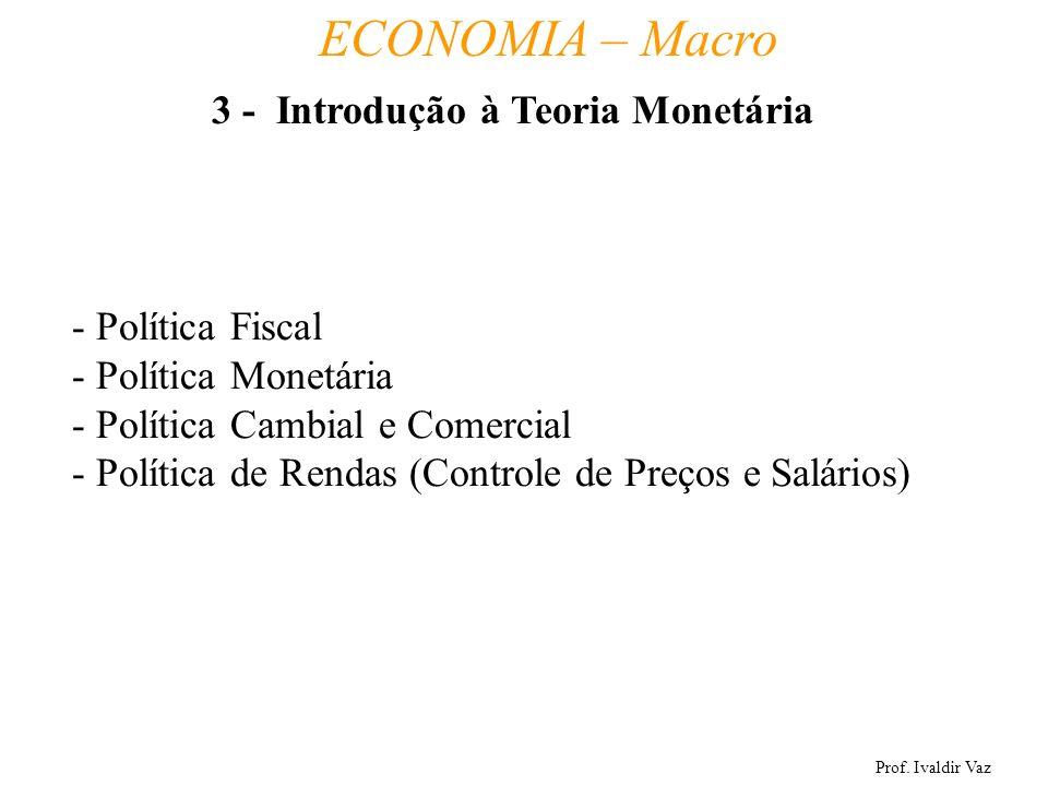 Prof. Ivaldir Vaz ECONOMIA – Macro 16 - Política Fiscal - Política Monetária - Política Cambial e Comercial - Política de Rendas (Controle de Preços e