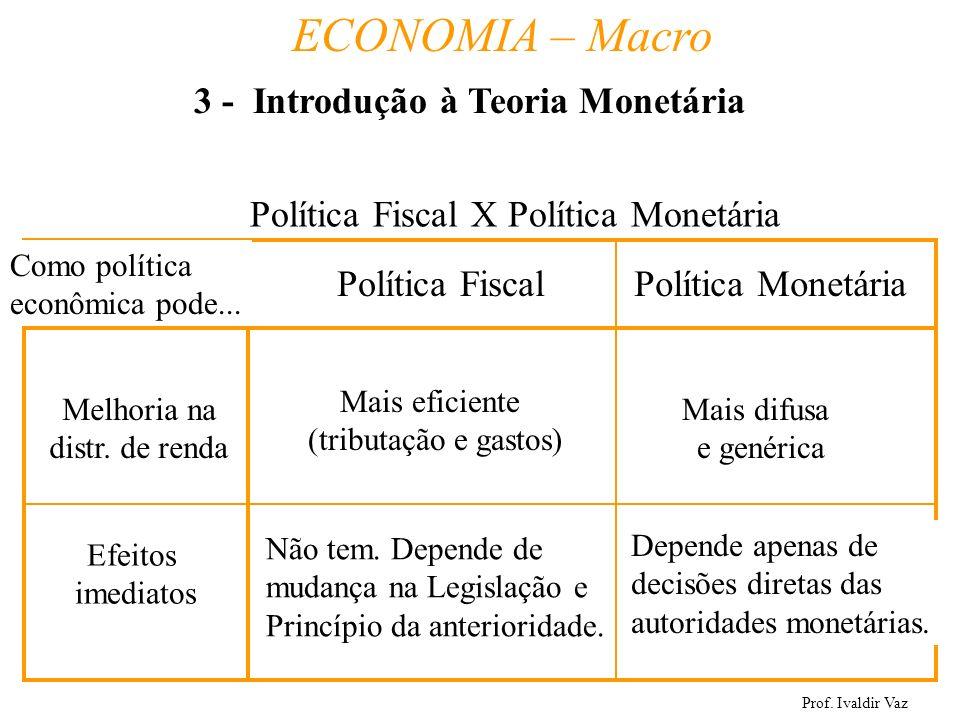 Prof. Ivaldir Vaz ECONOMIA – Macro 20 Política Fiscal X Política Monetária Política FiscalPolítica Monetária Como política econômica pode... Melhoria