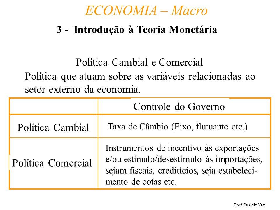 Prof. Ivaldir Vaz ECONOMIA – Macro 21 Política Cambial e Comercial Política que atuam sobre as variáveis relacionadas ao setor externo da economia. Po