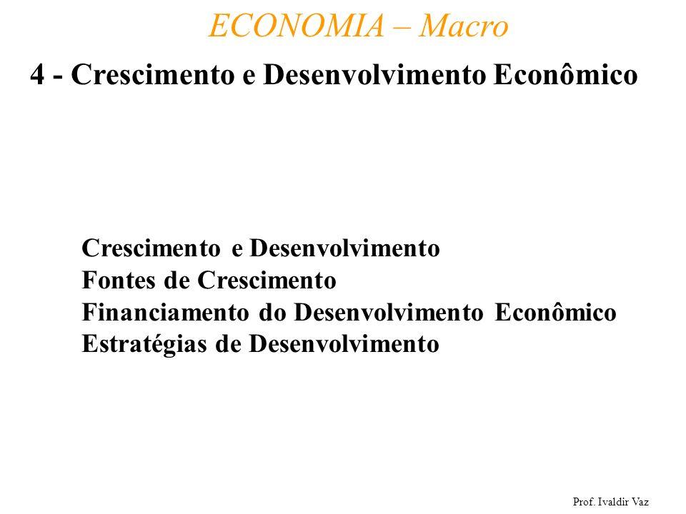 Prof. Ivaldir Vaz ECONOMIA – Macro 23 Crescimento e Desenvolvimento Fontes de Crescimento Financiamento do Desenvolvimento Econômico Estratégias de De