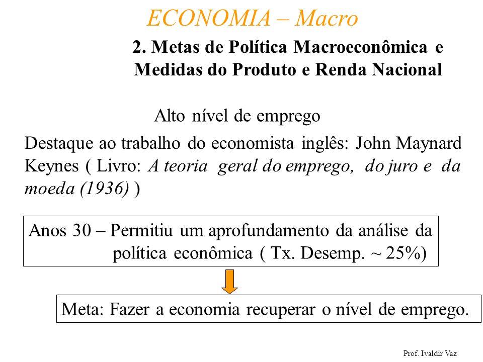 Prof. Ivaldir Vaz ECONOMIA – Macro 6 Alto nível de emprego Destaque ao trabalho do economista inglês: John Maynard Keynes ( Livro: A teoria geral do e