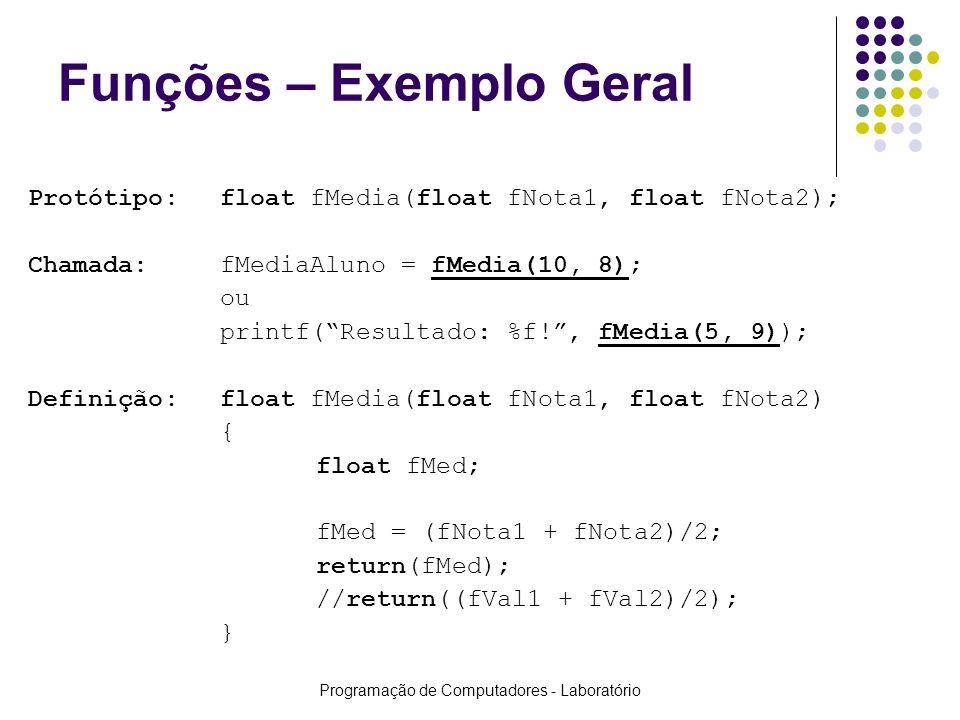 Programação de Computadores - Laboratório Funções – Exemplo Geral Protótipo:float fMedia(float fNota1, float fNota2); Chamada:fMediaAluno = fMedia(10,