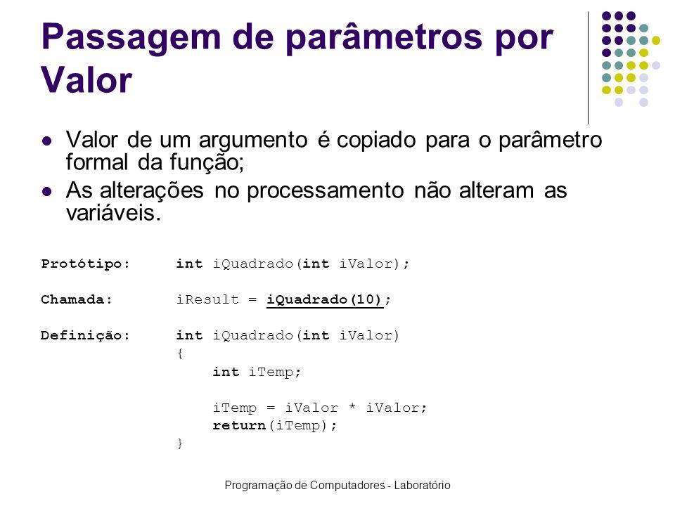 Programação de Computadores - Laboratório Passagem de parâmetros por Valor Valor de um argumento é copiado para o parâmetro formal da função; As alter