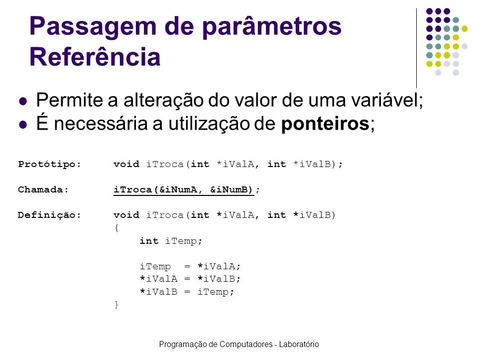 Programação de Computadores - Laboratório Passagem de parâmetros Referência Permite a alteração do valor de uma variável; É necessária a utilização de