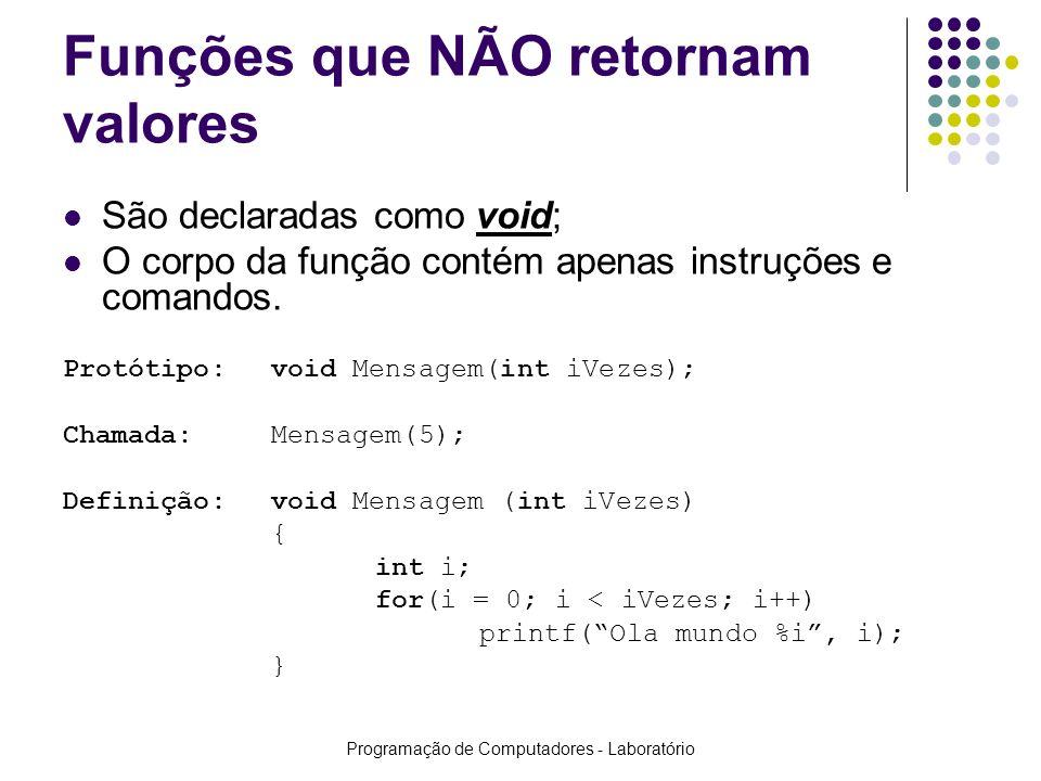 Programação de Computadores - Laboratório Funções que NÃO retornam valores São declaradas como void; O corpo da função contém apenas instruções e coma