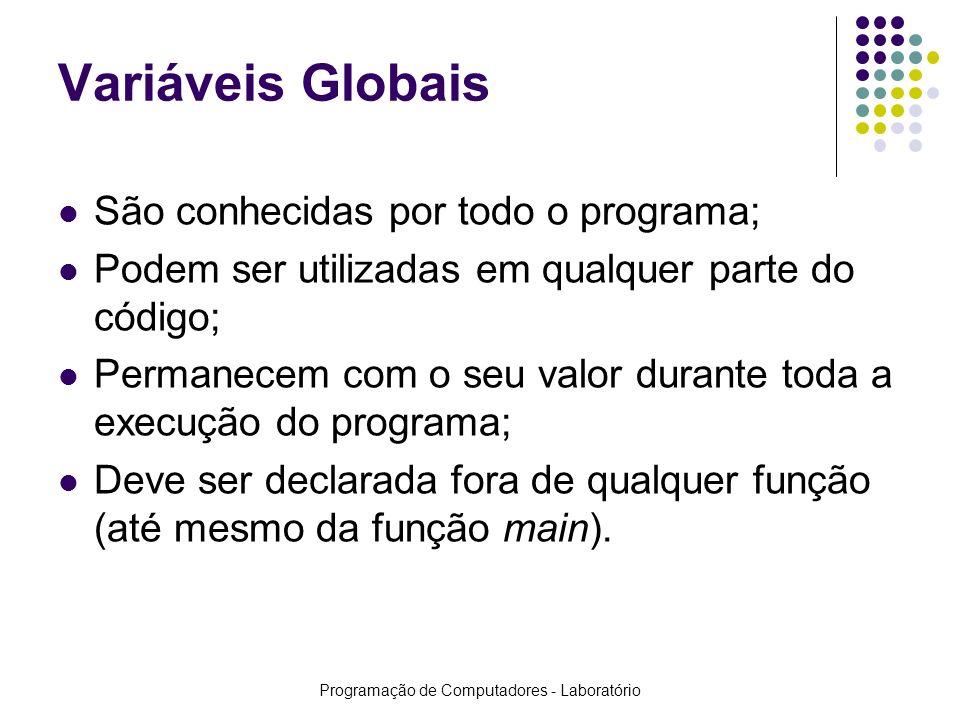 Programação de Computadores - Laboratório Variáveis Globais São conhecidas por todo o programa; Podem ser utilizadas em qualquer parte do código; Perm