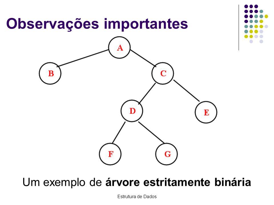 Estrutura de Dados Observações importantes Um exemplo de árvore estritamente binária