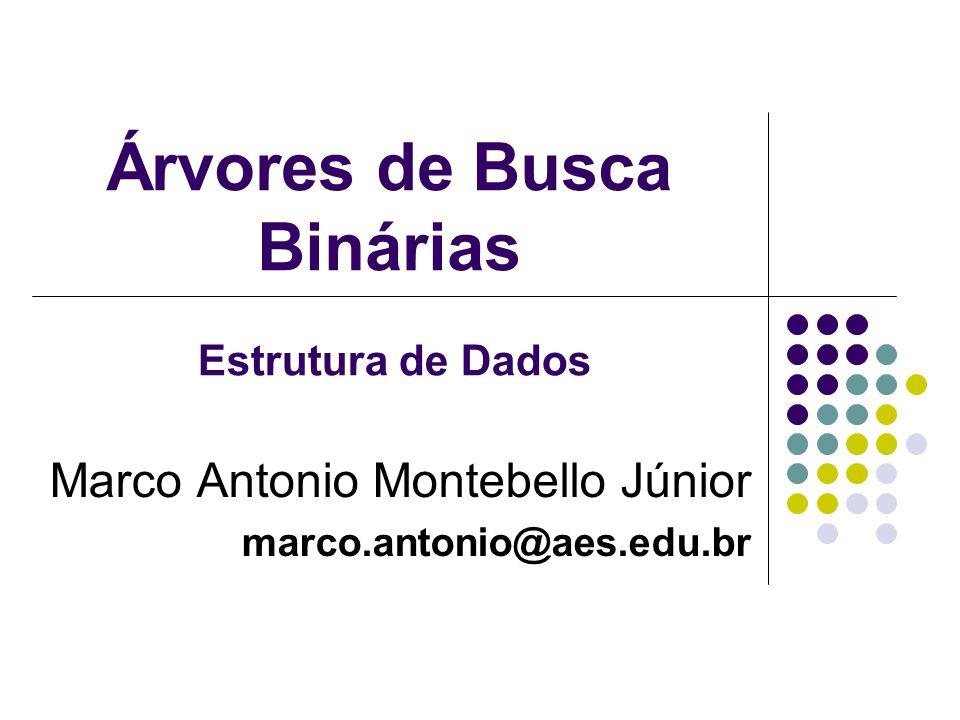 Árvores de Busca Binárias Marco Antonio Montebello Júnior marco.antonio@aes.edu.br Estrutura de Dados