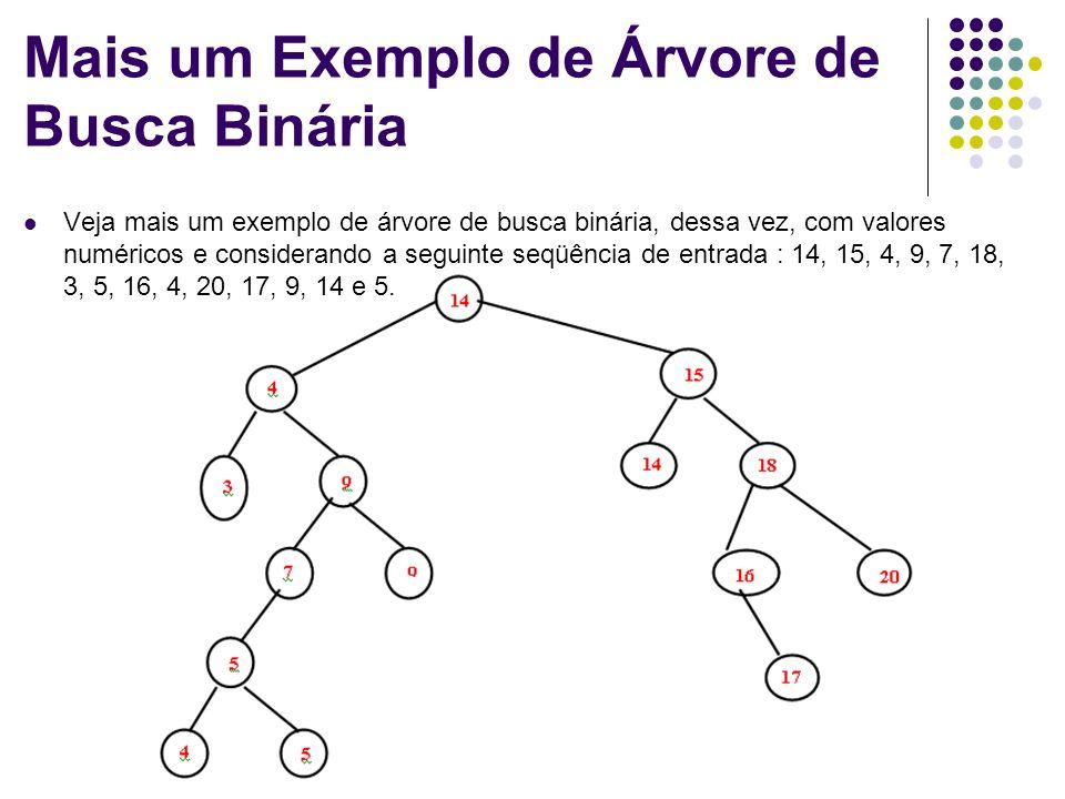 Estrutura de Dados Mais um Exemplo de Árvore de Busca Binária Veja mais um exemplo de árvore de busca binária, dessa vez, com valores numéricos e cons