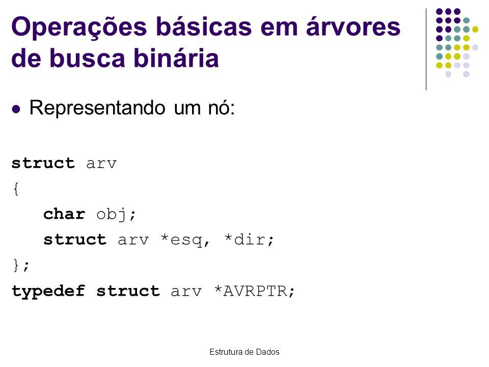 Estrutura de Dados Operações básicas em árvores de busca binária Representando um nó: struct arv { char obj; struct arv *esq, *dir; }; typedef struct