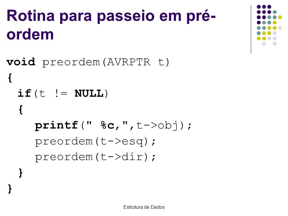 Estrutura de Dados Rotina para passeio em pré- ordem void preordem(AVRPTR t) { if(t != NULL) { printf(