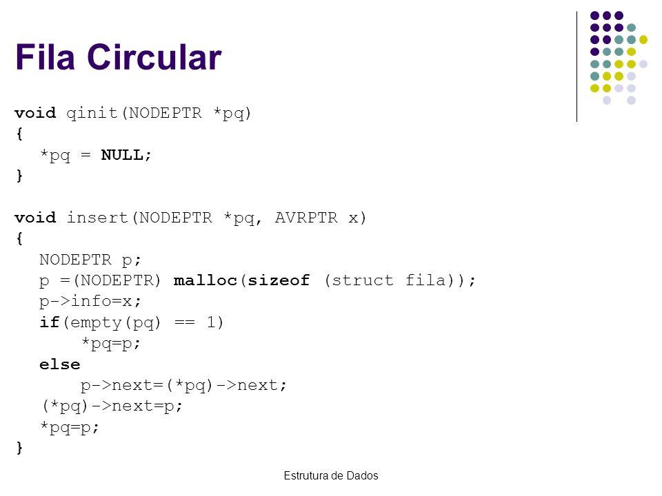 Estrutura de Dados Fila Circular void qinit(NODEPTR *pq) { *pq = NULL; } void insert(NODEPTR *pq, AVRPTR x) { NODEPTR p; p =(NODEPTR) malloc(sizeof (s