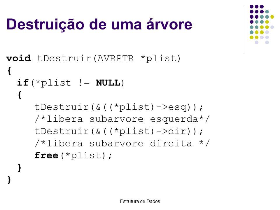 Estrutura de Dados Destruição de uma árvore void tDestruir(AVRPTR *plist) { if(*plist != NULL) { tDestruir(&((*plist)->esq)); /*libera subarvore esque