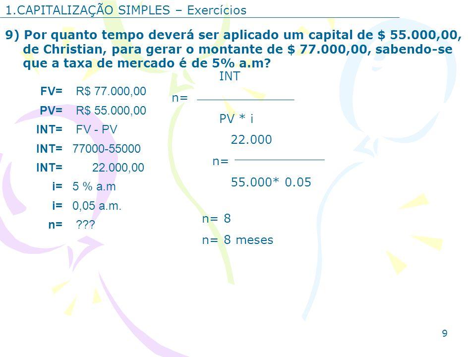 9 1.CAPITALIZAÇÃO SIMPLES – Exercícios 9) Por quanto tempo deverá ser aplicado um capital de $ 55.000,00, de Christian, para gerar o montante de $ 77.
