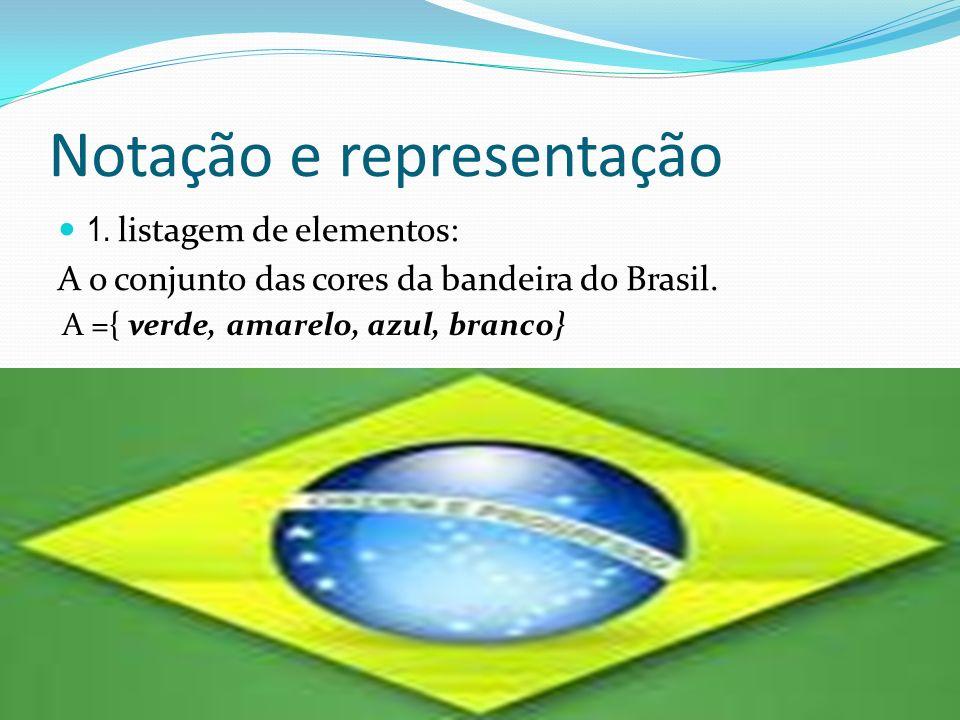 Notação e representação 1. listagem de elementos: A o conjunto das cores da bandeira do Brasil. A ={ verde, amarelo, azul, branco}