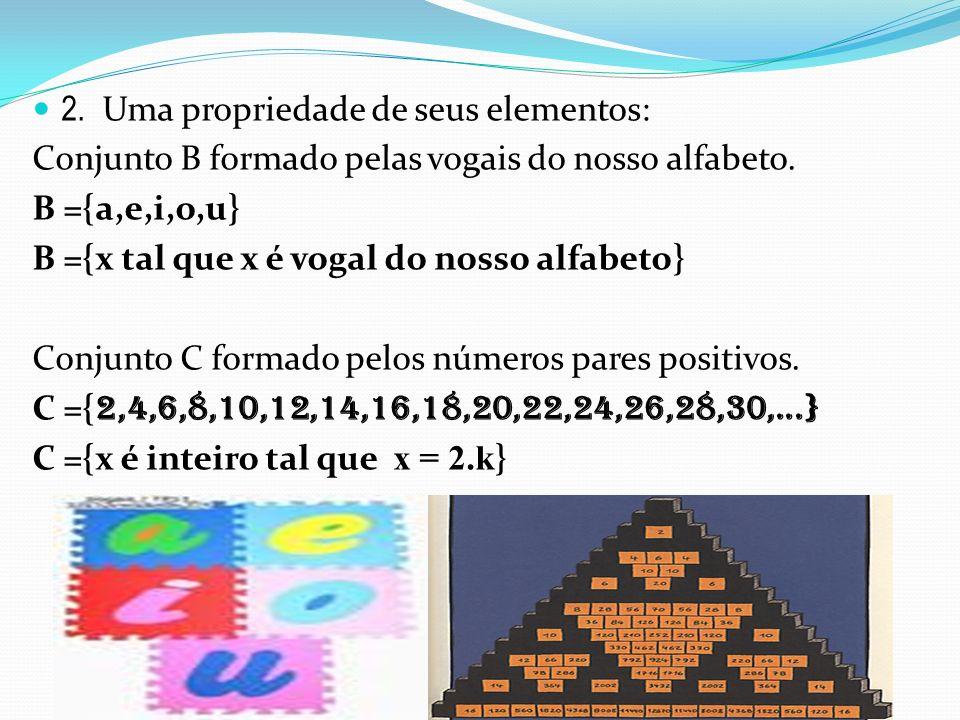 2. Uma propriedade de seus elementos: Conjunto B formado pelas vogais do nosso alfabeto. B ={a,e,i,o,u} B ={x tal que x é vogal do nosso alfabeto} Con