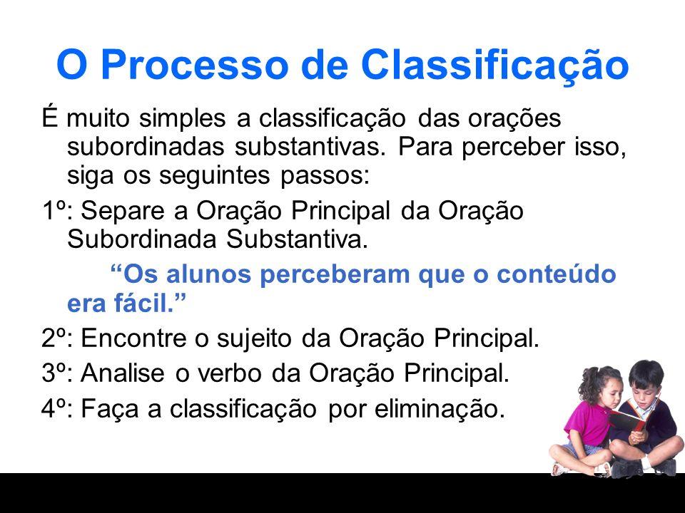 O Processo de Classificação É muito simples a classificação das orações subordinadas substantivas. Para perceber isso, siga os seguintes passos: 1º: S