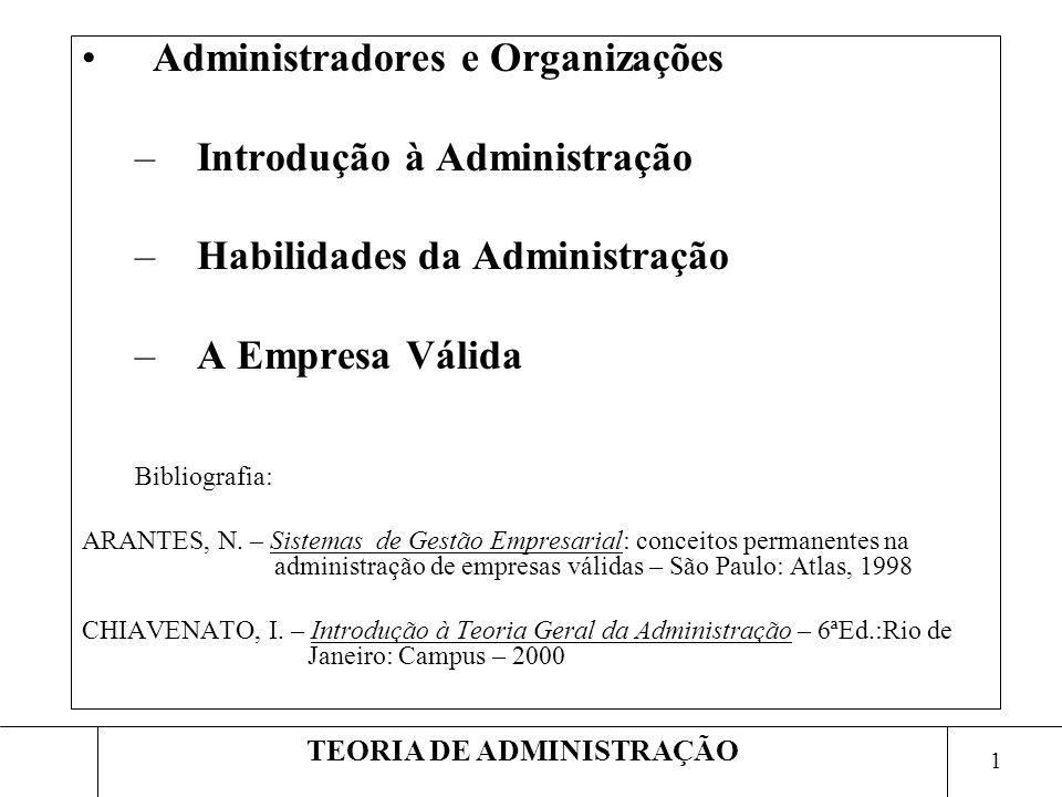 1 TEORIA DE ADMINISTRAÇÃO Administradores e Organizações –Introdução à Administração –Habilidades da Administração –A Empresa Válida Bibliografia: ARA
