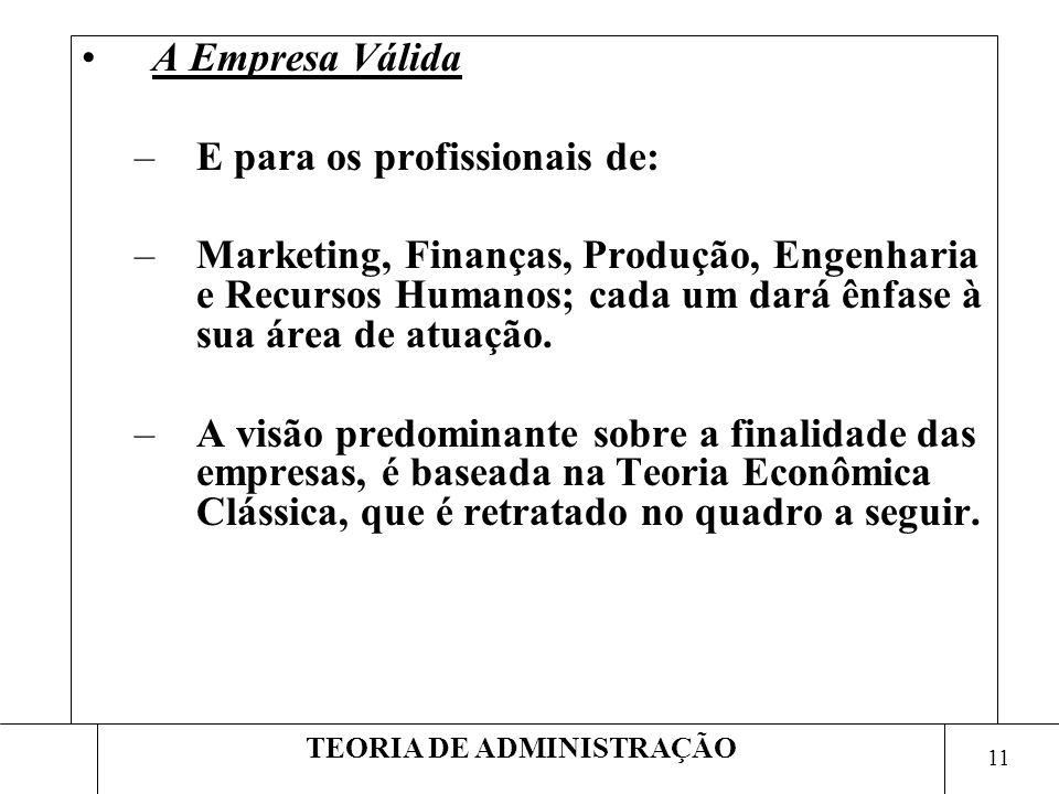 11 TEORIA DE ADMINISTRAÇÃO A Empresa Válida –E para os profissionais de: –Marketing, Finanças, Produção, Engenharia e Recursos Humanos; cada um dará ê