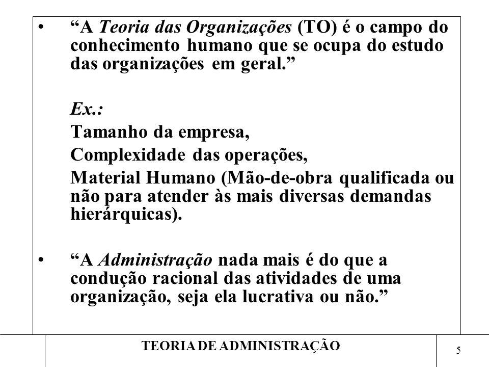 6 TEORIA DE ADMINISTRAÇÃO A Administração trata: –do Planejamento, da estruturação, –da direção e controle das atividades diversificadas da organização.