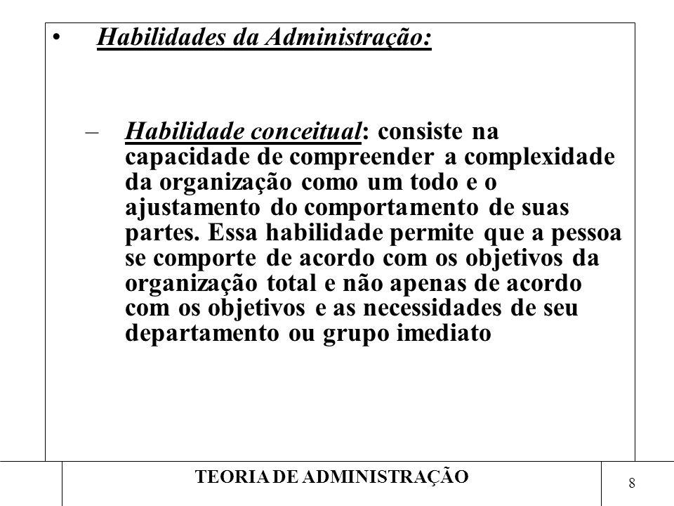 8 TEORIA DE ADMINISTRAÇÃO Habilidades da Administração: –Habilidade conceitual: consiste na capacidade de compreender a complexidade da organização co
