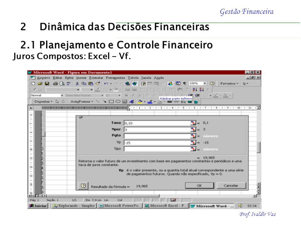 Prof. Ivaldir Vaz Gestão Financeira Exemplo - (Excel - VF) Determinar o valor futuro (FV) e os juros (J) de uma aplicação de R$ 15,00 (PV) efetuada pe